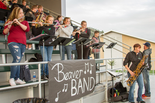 Band Director Bryanna Steck (playing saxophone, far right) wants to increase student enrollment in the district by offering students who can't afford to rent or buy their own instruments the ability to borrow instruments from their schools.