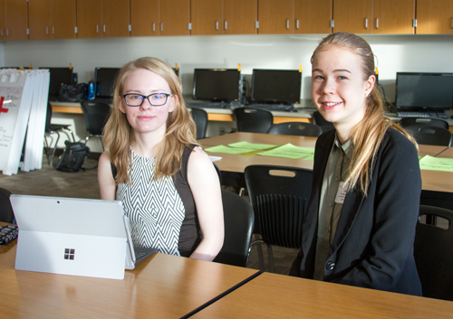 Bethany Humbyrd (junior, left) and Lea Drees (junior, right) received fifth place in their team competition in the Graphic Design category.