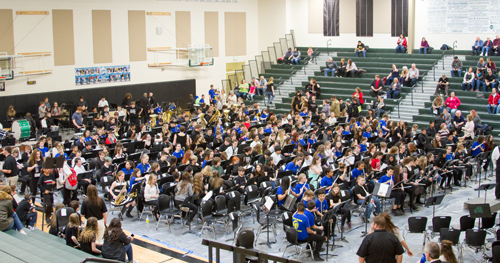More than 430 middle school student musicians performed in the 41st Annual Mass Band Concert at Woodland High School