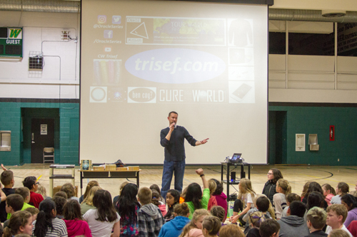 Chad Trisef, a self-published author, visits schools around the country to promote literacy and talk to kids about the importance of helping others.