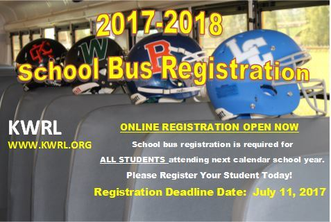 All students using bus transportation in the 2017-18 school year must register either online or in-person by July 11, 2017.