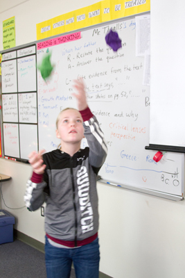 BrookLynn Decker, sixth grader, uses the hand-eye coordination she learned from juggling while she plays soccer, her favorite sport.
