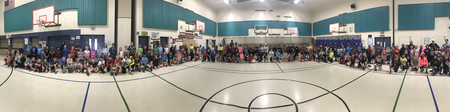 At a recent assembly, Principal Steven Carney took a panoramic photo of all the school's students wearing hoodies and shorts, Harley's preferred attire.