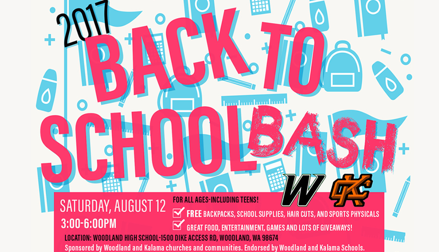 The Back to School Bash provides free school supplies and haircuts to students in need from Woodland and Kalama School Districts on August 12 from 3-6 p.m. at Woodland High School