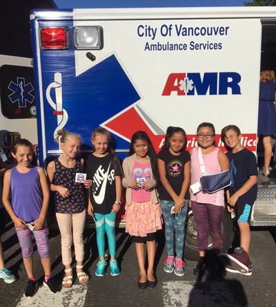 Students enjoyed going on a tour of an ambulance brought by Thompson and Huebschman