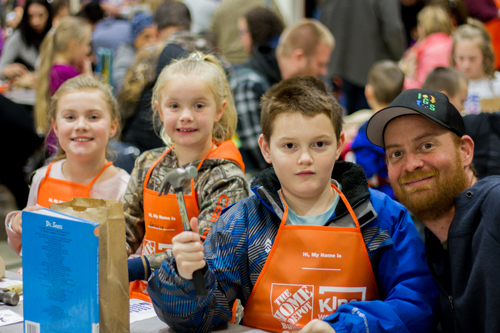 Longview's Home Depot store donated 280 wood-block calendar kits as well as kid-sized Home Depot aprons for the attendees.