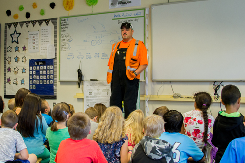 Brent Estep, a railroad engineer for BNSF Railway, taught students about different railroad jobs as well as the importance of railway safety.